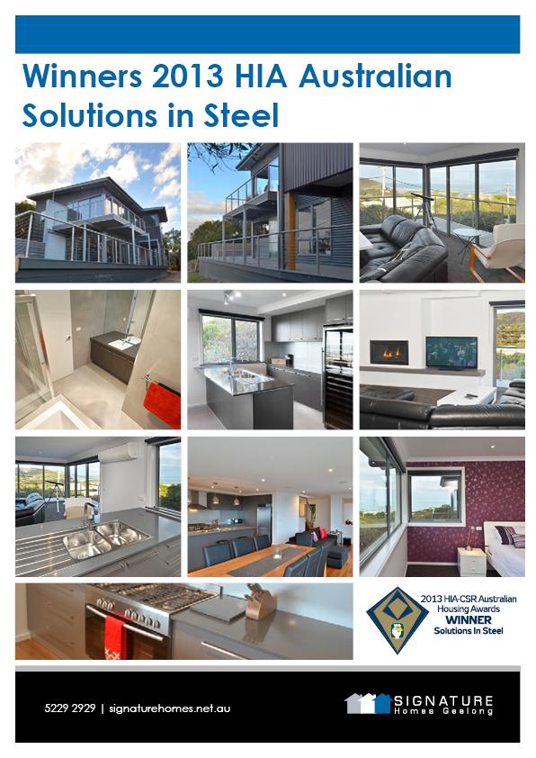 Signature Homes Geelong - Winners 2013 HIA Australian Solutions in Steel